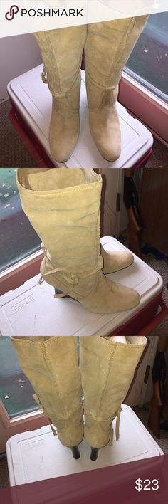 Nine West Suede Wedge Boots Nine West  piazzr women suede high 3 inch wedge  beige Boots  leather  upper  good condition size 10 med nine west Shoes Heeled Boots