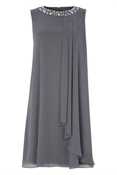 Embellished Neck Chiffon Dress in Grey – Roman Originals UK - Kleidung Ideen Stylish Dresses, Women's Fashion Dresses, Hijab Fashion, Formal Dresses, Fall Dresses, Long Dresses, Shift Dresses, Dresses Dresses, Dance Dresses
