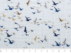 Embrace Double Gauze Fabric in Birds Eye View Midnight  100%