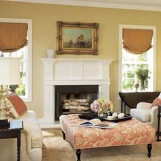 Colonial Style Living Room With Chairs And Oversized Ottoman