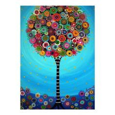 Bar Bat Mitzvah Invitation Tree of Life Whimsical Painting