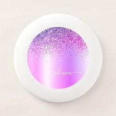 Purple Monogram Glitter Sparkle Girly Script Wham-O Frisbee - tap/click to get yours right now! #WhamOFrisbee #monogram, #girly, #glitter, #bridal #shower,