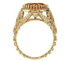 Erica Courtney 4.20 ct Citrine & Diamonique Alice Ring, 14K Gold Clad