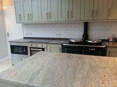 Kashmir White Granite Island, Altair Quartz Worktops   Contemporary    Kitchen   Manchester UK