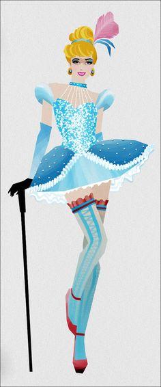 「ムーラン・ルージュ」の踊り子風に描かれたディズニー・プリンセスたちのイラスト集「Moulin Rouge」 - DNA