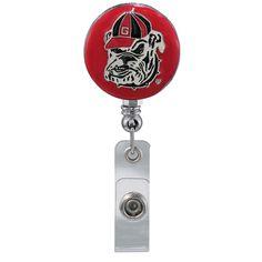 Georgia Bulldogs Dawg Pride work Retractable Reel ID Badge Holder nurse Dr cna