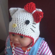 CROCHET PATTERN Easy and Quickly, Hello Kitty Hat, All sizes, Newborn to Adult, Hello Kitty Beanie and Earflap