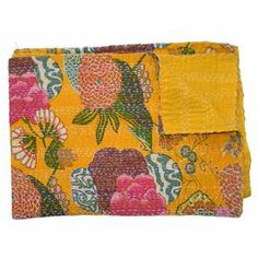 "Inspired by traditional kantha cloth fabrics, this cotton throw showcases a bold floral motif—perfect for adding a touch of bright style to your sofa or bed.      Product: ThrowConstruction Material: CottonColor: Yellow and multiDimensions: 60"" x 80"" Cleaning and Care: Spot clean"