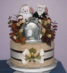 One Tier Custom Wedding Towel Cake Wedding Towel Cakes, Wedding Cakes, Wedding Shower Gifts, Wedding Gifts, Wedding Ideas, Diaper Centerpiece, Pamper Cake, Gift Cake, Shower Towel
