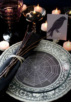 dark party tablescape table setting