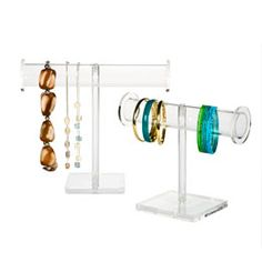 Acrylic Jewelry Stands  The Container Store $14.99  For watch caddy    Master Closet