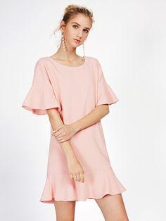 Frill Trim Drop Hem Dress -SheIn(Sheinside)