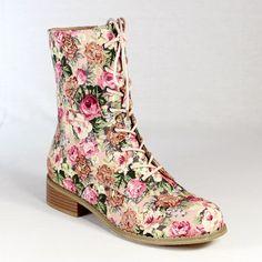 Lace Up Combat Boots Pink Floral