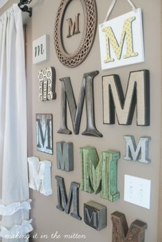 Wall letters decor, monogram wall letters, m monogram, letter wall ar Living Room Decor, Bedroom Decor, Master Bedroom, Diy Wand, Monogram Wall, My New Room, Diy Home Decor, Sweet Home, Interior Design
