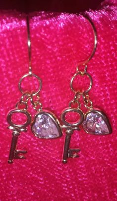 New 14KY Solid Pure Gold Key CZ Heart Cubic Zirconia Stone French Hook Earrings   eBay