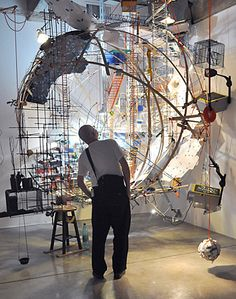Sarah Sze, 360 (Portable Planetarium), 2010, Mixed media, 162 x 136 x 185 in., installed at Tanya Bonakdar Gallery, Photo © William Kimber