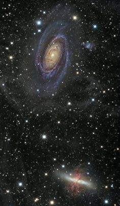#astrointerest - #Google+   M 81 (Bode's Galaxy), M 82 (Cigar Galaxy) and part of IFN, Messier 81 (Bode's Galaxy or NGC 3031) and Messier 82 (Cigar Galaxy or NGC 3034) are respectively spiral and starburst galaxy about 12 million light-years away in the constellation Ursa Major.This couple is seen through the faint glow of an Integrated Flux Nebulae (or IFN). Credit: Emil Ivanov