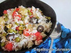 rezetas de carmen: Ensalada de arroz con pistachos, aceitunas y tomates.