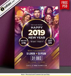 free happy new year night party poster psd