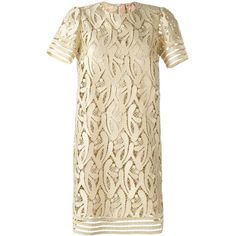Nº21 - embroidered metallic dress - women - Polyester/Viscose/Metallic... ($764) ❤ liked on Polyvore featuring dresses, nude, embroidered cocktail dress, rayon dress, nude dress, broderie dress and brown cocktail dress