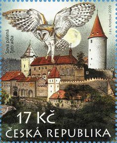 Czech Republic stamp owl 28/10  Reminds me of Hogwarts and Hedwig