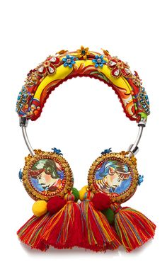 Shop Crystal and Bead Embellished Headphones with Tassels. A celebration of Italy as seen through the eyes of tourists in post-World War II Italy was the theme for Stefano Gabbana and Domenico Dolce's Spring 2015 collection. Fashion Accessories, Fashion Jewelry, Hair Accessories, Cute Headphones, Good Vibe, Passementerie, Headbands, Tassels, Gadgets