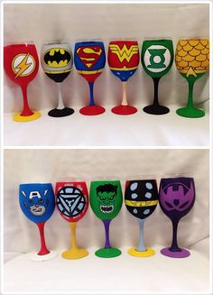 Justice League and Avengers Painted Glasses Diy Wine Glasses, Decorated Wine Glasses, Hand Painted Wine Glasses, Wedding Wine Glasses, Wine Glass Crafts, Wine Craft, Wine Bottle Crafts, Avengers Painting, Hero Crafts