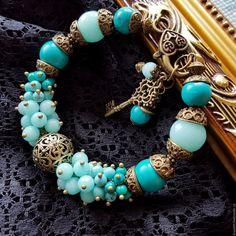 Купить Браслет из натуральных камней. Браслет из агата и турквенита - браслет, браслет из натурального, браслет с камнями