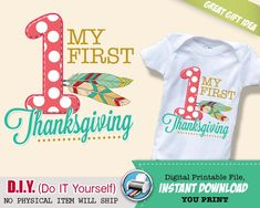 My First Thanksgiving Iron On Printable Decal - 1st Thanksgiving Outfit - Tribal Digital Transfer - INSTANT DOWNLOAD #thanksgivingoutfits #firstthanksgivingoutfit #fashion #kidsfashionforall  #babyfashion #firstbirthday #ironontransfers #thanksgivingironontransfers
