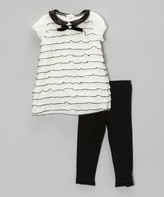 Another great find on #zulily! Black & White Tiered Tunic & Leggings - Infant by Nannette Baby #zulilyfinds