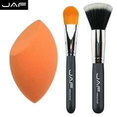3 pcs em conjunto esponja de maquiagem, Pro angular fundação corar líquido pincel, Pincel Kabuki maquiagem escova cosméticos ferramenta