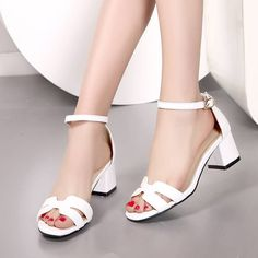 High Quality Open Toe Less Platform Square Low Heels Buckle Ankle Strap Sandals Shoes 3 Colors