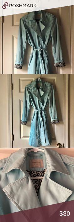 """Trench coat Brand new condition, Zara trench coat, pastel blue color with animal print lining. Length from shoulder 35.5"""" Zara Jackets & Coats Trench Coats"""