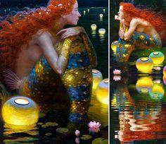 Victor Nizovtsev Sirens, Victor Nizovtsev, Candy Art, Eye Candy, Fiber Art Quilts, Water Fairy, Cartoon Painting, Mermaids And Mermen, Soul Art