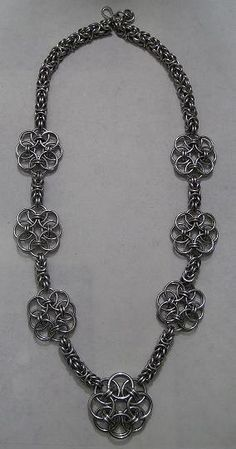 Byzantine and Helm Flower Chainmaille Necklace and Earring Set, Chainmaille Jewelry Set, Fashion Jewelry