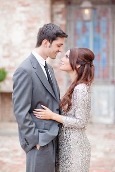 Engagement outfit idea. Sequins and a suit. Dressy and sophisticated!