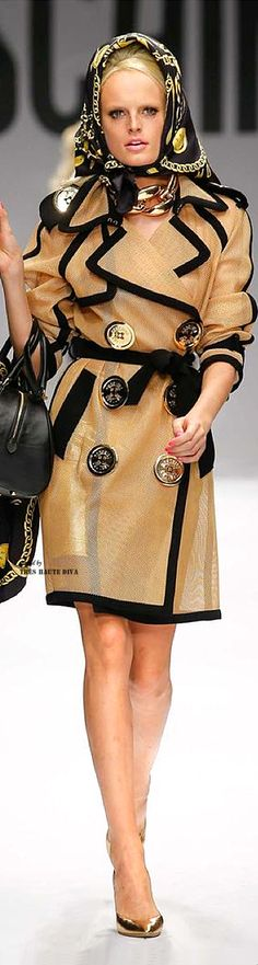 Moschino ~ Spring Gold Sheer Double Breasted Top Coat w Black Trim + Large Button Details 2015