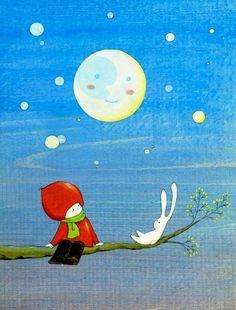 Moon Talk No.1 by naokosstoop on Etsy