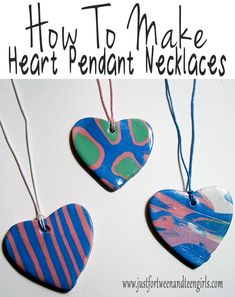 How To Make Heart Pendant Necklaces using polymerclay. A great craft for teens and tweens