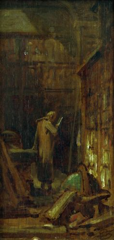 Carl Spitzweg - C.Spitzweg, In the Library / painting