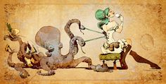 Choose your favorite steampunk digital art from millions of available designs. All steampunk digital art ship within 48 hours and include a money-back guarantee. Tatoo Steampunk, Steampunk Kunst, Steampunk Octopus, Steampunk Design, Steampunk Illustration, Octopus Illustration, Cthulhu, Le Kraken, Motif Art Deco