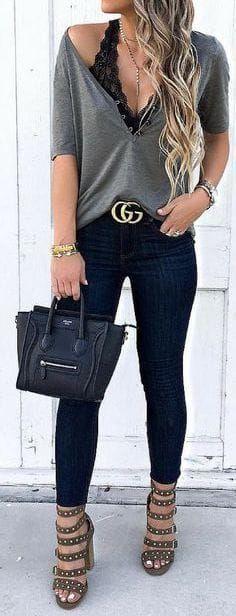 #summer #outfits / black lace bralette + deep v neck top