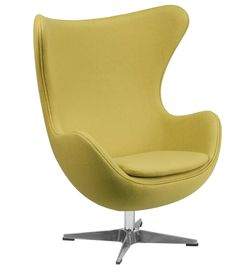 Citron Wool Fabric Egg Chair w/ Tilt-Lock Mechanism - Flash Furniture retro style chair will become everyone's favorite chair whether it is used in the home or office. The Egg Chair can be used in the home, but will add a distinguished look t Chair Fabric, Wool Fabric, Chair Cushions, Chair Upholstery, Chair Pads, Wingback Chair, Arne Jacobsen Chair, Egg Styles, Chair Types