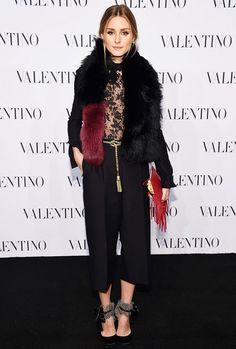 Olivia Palermo in a Valentino jumpsuit and a Charlotte Simone fur stole.