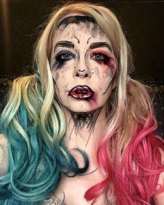 Harley Quinn #Halloweenmakeup look.  Inspired by Jordan Hanz. Shaded cell, grungy Harley cosplay! #harleyquinn #harleyquinncosplay #harleyquinnhalloween