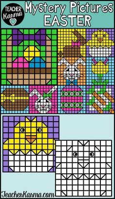 Easter Mystery Pictures clipart for you to create your own teaching resources or materials to sell on Teachers Pay Teachers.  Click on the pin to access your Spring Mystery Pictures.  #easterclipart #springclipart #teacherkarma