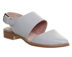 Office Lawless 2 Part Slingback Grey Leather - Flats