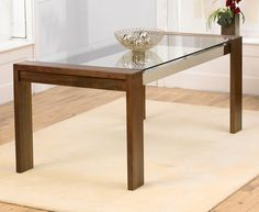 Buy the Cannes 180cm Walnut and Glass Dining Table at Oak Furniture Superstore