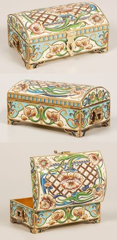 A Russian silver gilt and shaded cloisonné enamel jewel casket, unrecorded maker's mark EPR (Cyrillic), Moscow, 1896-1908. Of traditional form on bracket feet, the rectangular box with hinged trunk-shape lid completely worked in multi-color shaded enamel Art Nouveau scroll, trellis, and flowerhead motifs, hinged handles and hasp.