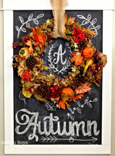 Visit our front entryway, with fall decor including DIY Autumn chalkboard art with wreath. Primer Halloween, Fall Halloween, Halloween Crafts, Chalk It Up, Chalk Art, Autumn Decorating, Decorating Ideas, Decor Ideas, Autumn Home